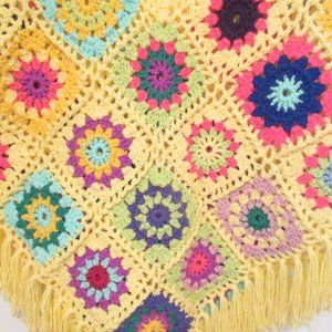 InfiniteElaine Accessories - NEW Boho Crocheted Hip Granny Square Poncho NWT